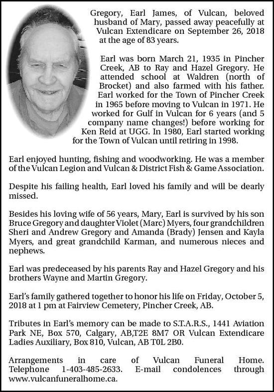 obituaries vulcan advocate