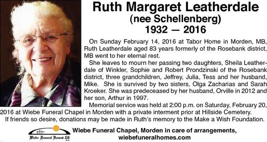 Ruth Margaret  Leatherdale