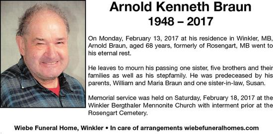 Arnold Kenneth  Braun