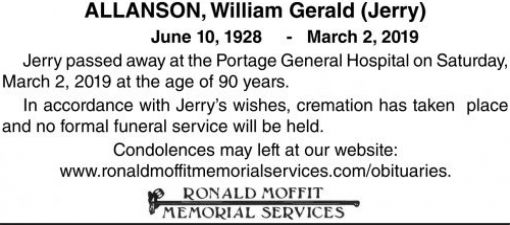 William Gerald (Jerry)  ALLANSON