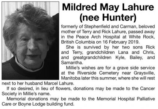 Mildred May (nee Hunter)  LAHURE