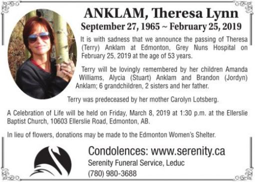 Theresa Lynn September  ANKLAM